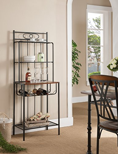 Kings Brand Furniture Metal with Wood Bakers Rack with Wine Storage by Kings Brand Furniture