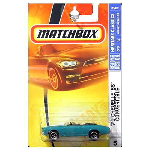 Matchbox 2008 Heritage Classics 1971 Chevrolet Chevy Chevelle SS Convertible Blue Green Teal (Chevrolet Chevelle Convertible)