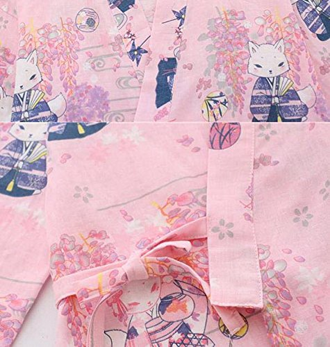 Gentle Meow Japanese Style Kimono Robe Pajamas Steaming Bathrobes Home Nightgown, Pink Foxes by Gentle Meow (Image #1)
