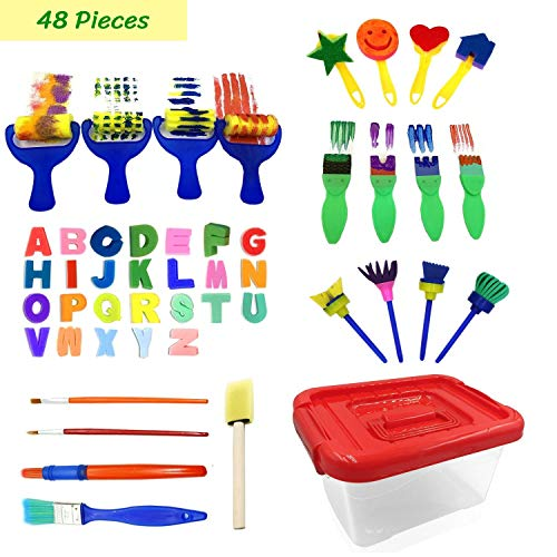 47pcs Kids Art and Craft Early Learning Painting Sponges Stamper Mini Paint Brushes Kit with 26 English Alphabets Drawing Tools (with ()