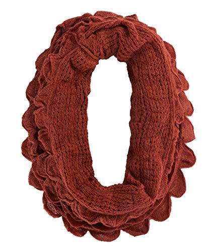 (StylesILove Chic Oversized Ruffle Knitted Infinity Scarf (Brick Red))