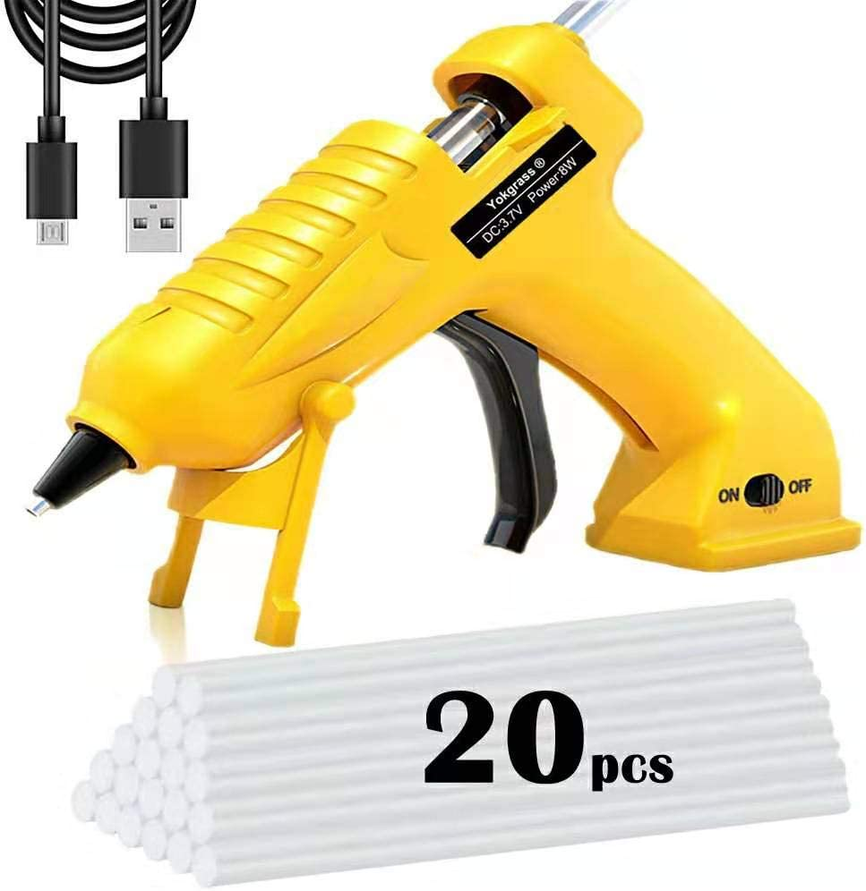 Cordless Hot Glue Gun, Yokgrass USB Rechargeable Anti-Drip Portable Mini Melt Glue Gun Kit with 20pcs Glue Sticks for DIY Crafts, School Projects and Fast Home Repairs