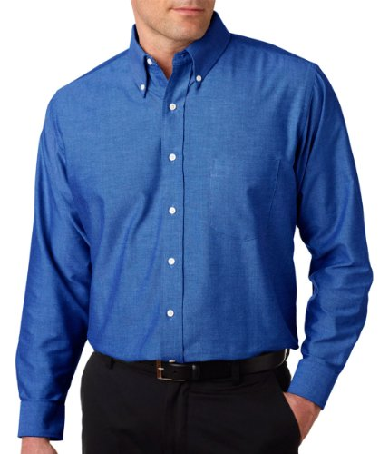UltraClub 8970T Mens Tall Classic Wrinkle-Free Long-Sleeve Oxford Shirt - French Blue, - Shirt Sleeve Long Wrinkle Oxford Free