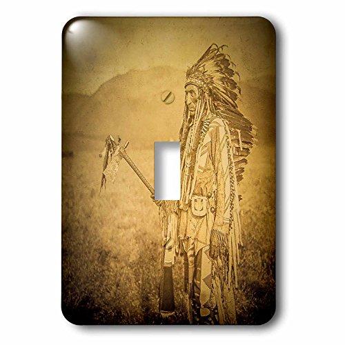 (3dRose LSP_240520_1 Stereoview Native American Indian Joe La Moose in Fine Costume Sepia Single Toggle)