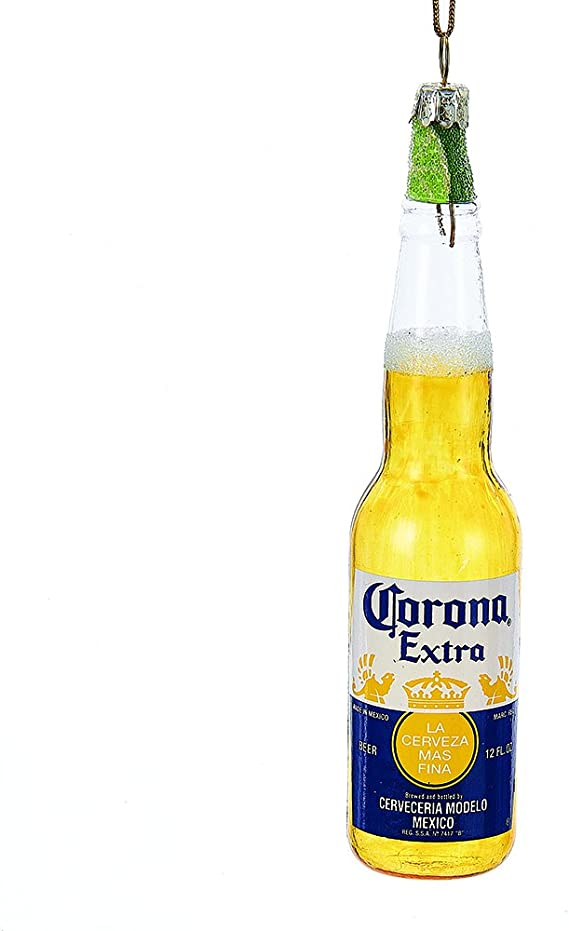 Amazon Com Kurt Adler Ce4161 Glass Corona Bottle Ornament With Lime 5 25 Home Kitchen