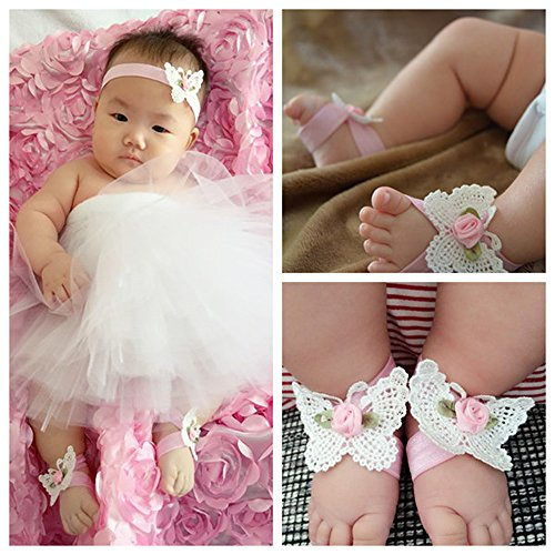 Bridal Costume Jewelry Toronto (Wholesale 4 Pairs Baby Sandal and Headband Set for Photography Party Decoration Essentials; Elegant Infant Girls Beauty Supply Barefoot Shoes and Hair Band)