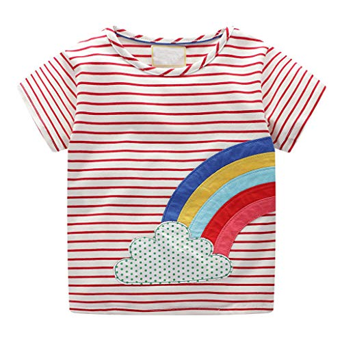 Boys Summer T-Shirt Toddler Kids Girls Rainbow Print Stripe Short Sleeve Shirt Top Clothes (Age: 3-4Years, Red) -