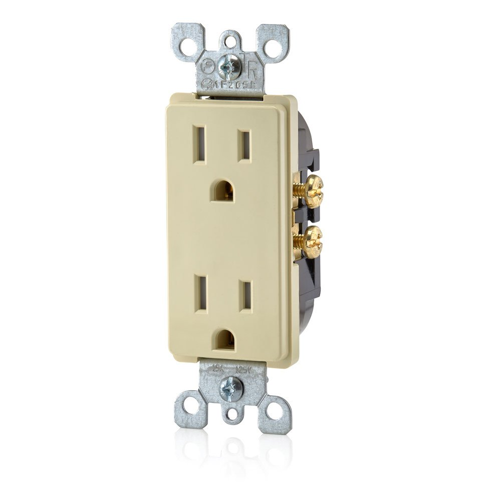 Leviton T5325-WMP M22-Straight Blade Tamper Resistant Duplex Receptacle 3 Wire 125 V 10-Pack White Piece 2 Pole 15 A
