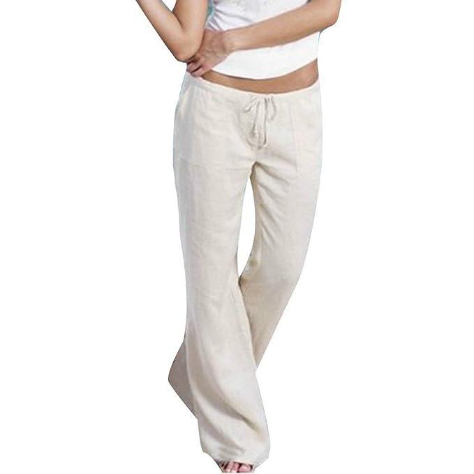 Pantalon Mujer Elegantes Color Largos Correas Verano Pantalones Cruzadas Sólido Pantalones Palazzo Aireado Festivo Cómodo Anchos Pantalones Yoga Mujer ...