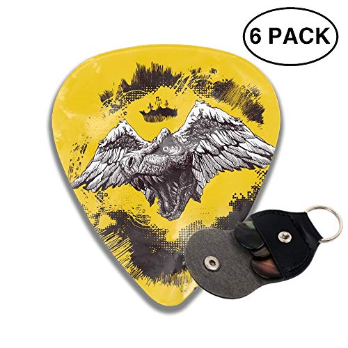 Design Elements For Halloween 3D Color Printed Guitar and Bass Pick Gift Silver