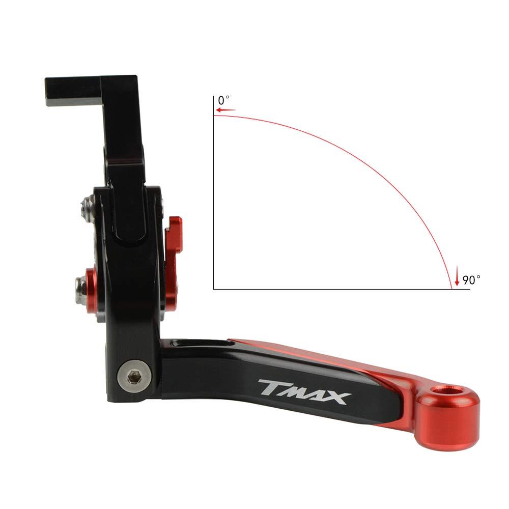 Ajustable Plegable Palanca de Embrague de Freno CNC Aluminio para Yamaha Tmax 530 500 2008 2009 2010 2011 2012 2013 2014 2015 2016 2017 2018-Negro+Negro+Rojo+Rojo