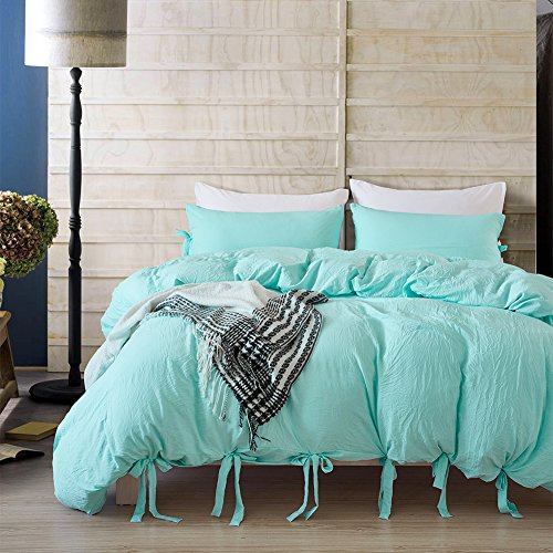 Cheap  Tenghe Vintage Solid Reversible 3 Pcs Duvet Cover Sets with Cute Ties..