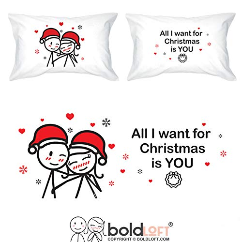 BOLDLOFT Merry Christmas Couples Pillowcases|Christmas Gifts for Couples|Cute Christmas Gifts for Girlfriend Boyfriend Husband Wife|His and Hers Gifts for Christmas|Cute Christmas Pillow Covers