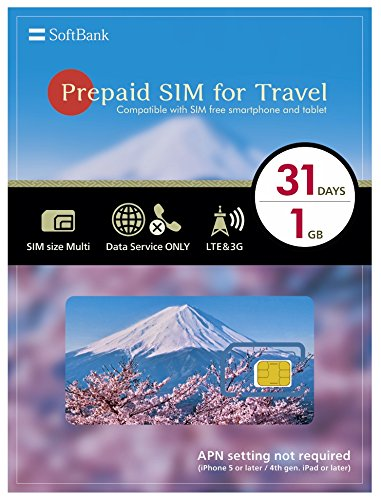 softbank prepaid sim for travel japan sim data 1gb 4g lte sim size multi 31days - Prepaid Data Only Sim Card