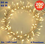Fairy Lights 200 LED Warm White Christmas Tree Lights Indoor String Lights - 8 Functions 20m/65ft Lit Length with 3m/10ft Lead Wire Power Mains Operated Ideal for Christmas Tree Festive Wedding Birthday Party & Bedroom Decorations Indoor Use Only