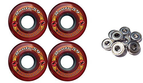 Kryptonicsルート59 mm 78 a Red Longboardスケートホイール+ Abec 9 Bearings   B014TRE5IC