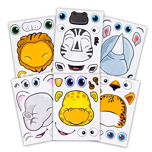24 Make A Safari Animal Sticker Sheets - Includes Lion, Cheetah, Elephant, Rhinoceros, Zebra, & Giraffe Stickers - Great for Zoo & Safari Themed Birthday Party Favors -Fun Activity That Encourages Creativity -