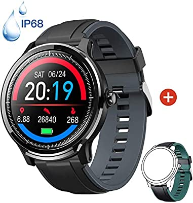 Smartwatch Reloj Inteligente con un Correa Verde Oscuro Reemplazable Impermeable IP68 Pulsera Actividad Monitor de Sueño Calorías Podómetro Pulsómetro ...
