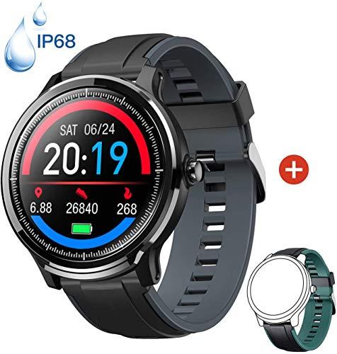 Smartwatch Reloj Inteligente con un Correa Verde Oscuro Reemplazable Impermeable IP68 Pulsera Actividad Monitor de Sueño…