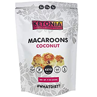 Ketonia Keto Coconut Macaroons - 16 Hand Made Macaroons - 1/2 Net Carb & 60 Calories Per Macaroon - Gluten & Grain Free - Low Carb - Keto Friendly - Natural Source of MCT's