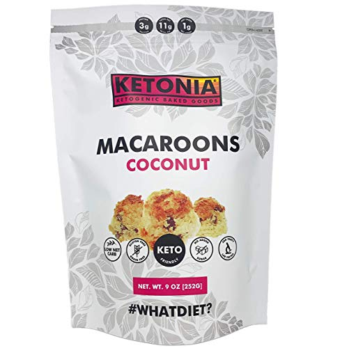 Ketonia Keto Coconut Macaroons - 16 Hand Made Macaroons - 1/2 Net Carb & 60 Calories Per Macaroon - Gluten & Grain Free - Low Carb - Natural MCT's - Stay in Ketosis 1