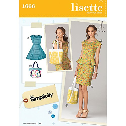 Simplicity Lisette Sew Your Style Pattern 1666 Misses Dress or Top, Skirt or Handbag Sizes 16-18-20-22-24 (Dress Princess Sew)