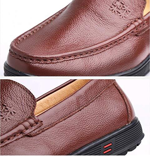 Zapatos para Mocasines para de Cabeza 5 7 Informales de cómodos Negocios con Cordones Hombres MARRÓN 5 8 Redonda Cuero UK Tamaño Color US Verano Hombres Marrón HhGold para de 8dCwq8