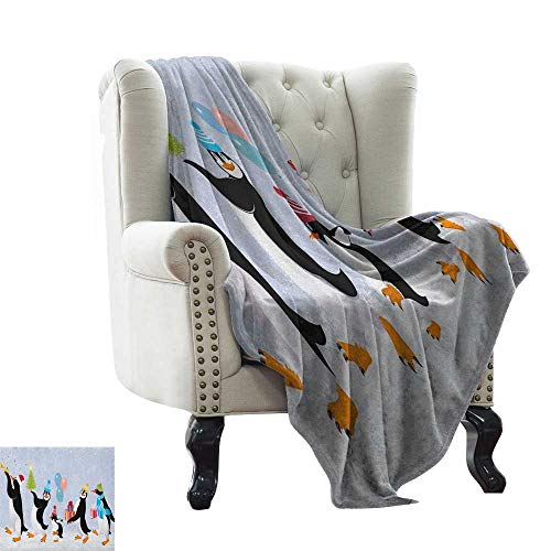 (BelleAckerman Puppy Blanket Christmas,Group of Cute Penguins in Caps Walking on Snow with Surprise, Multicolor Super Soft Light Weight Cozy Warm Plush 50