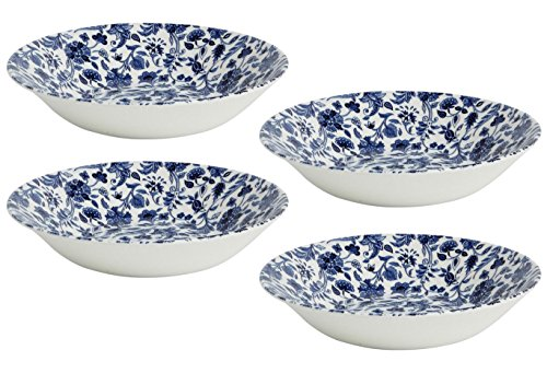 (Queen's Antique Floral Blue Soup/Cereal/Dessert Bowls, Made in England, 10-Oz. Capacity, Set of 4 (8