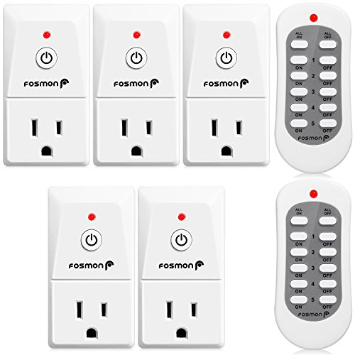 Wireless Remote Control Outlet (5 Pack), Fosmon 3-Prong Indoor Electrical Plug-In Light Switch [5 AC Power Outlet | 2 Wireless Remote Control] Household Appliances ETL Listed - White