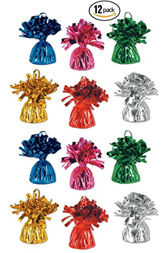 Metallic Colored Balloon Weights Assortment Pack of 12, by 4E's Novelty, (Colorful)