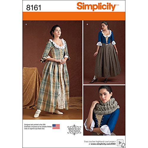 Simplicity 8161, Women's 18th Century Dress Historical Costume, Sizes 6-14