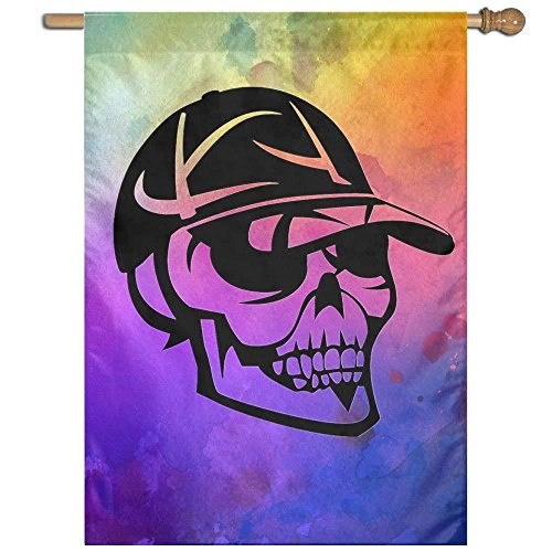 Skull With Hat Home Garden Flags 27x37 Inch Polyester Home D