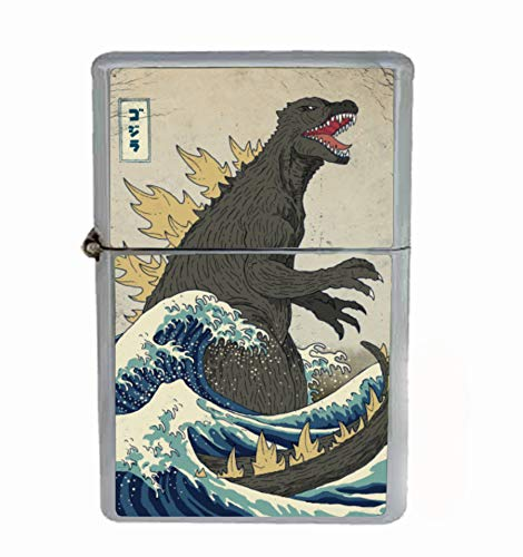 Customized Collectables Godzilla Vintage Japanese Monster SciFi Flip Top Oil Cigarette Lighter (Collectable Lighters)