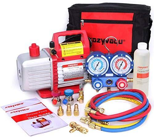 [해외]Kozyvacu AUTO AC 수리 완벽한 도구 키트 1단계 4.5 CFM 진공 펌프 매니폴드 게이지 세트 호스 및 그 액세서리... / Kozyvacu AUTO AC 수리 완벽한 도구 키트 1단계 4.5 CFM 진공 펌프 매니폴드 게이지 세트 호스 및 그 액세서리...