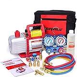 Kozyvacu Mini Split/HVAC/AUTO AC Repair Complete Tool Kit with 1-Stage 4.5 CFM Vacuum Pump, Manifold Gauge Set, Hoses and its Acccessories ...