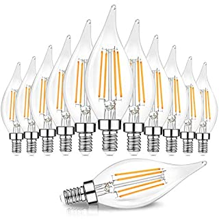 Dimmable E12 Candelabra LED Bulbs 60 Watt Equivalent, 2700K Warm White, Clear Filament LED Chandelier Light Bulbs 6W, 600lm, CA11 Vintage Ceiling Fan Light Bulb with Flame Tip, 12-Pack