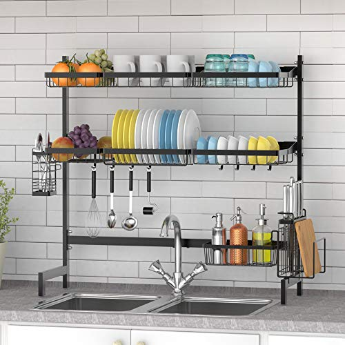 Over The Sink Dish Drying Rack Ace Teah 2 Tier Dish Rack Stainless Steel Dish Drainer Black Aceteah