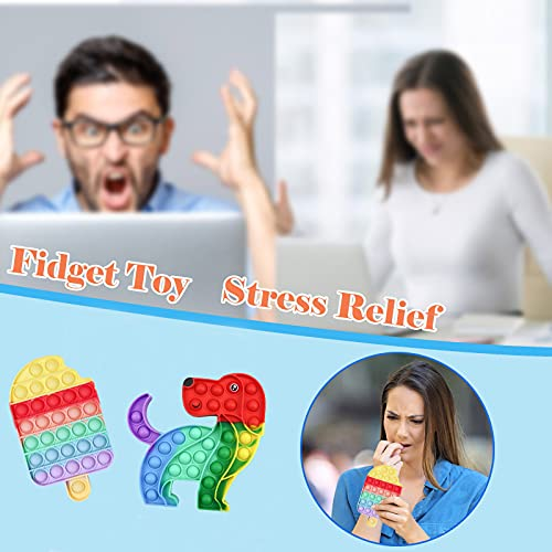 Push and Pop Bubble Fidget Sensory Toy, Rainbow 2PCS Push Bubbles Pop Toys, Silicone ToyAutism Special Needs Stress Reliever, Squeeze Sensory Tools to Relieve Emotional Stress for Kids Adults