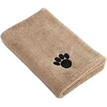 """DII Bone Dry Microfiber Pet Bath Towel with Embroidered Paw Print, 44x27.5"""", Ultra-Absorbent & Machine Washable for Small, Medium, Large Dogs and Cats-Taupe"""