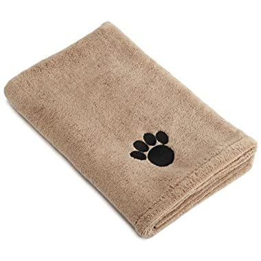 DII Bone Dry Microfiber Dog Bath Towel with Embroidered Paw Print, 44x27.5 , Taupe
