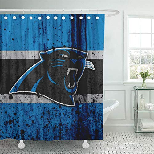 - Ladble Decor Shower Curtain Set with Hooks Carolina City Panthers Grunge Football Art Stone Texture South Division 66 X 72 Inches Polyester Waterproof Bathroom