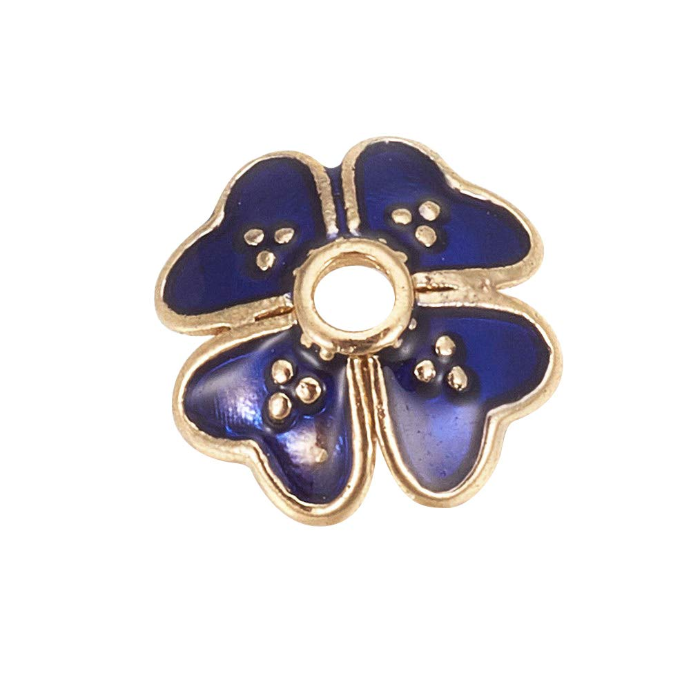 PH PandaHall 300pc Blue Four-Leaf Clover Alloy Enamel Beads Caps 7.5mm Golden Flower Beads for Jewelry Making, Hole: 1mm by PH PandaHall