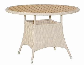 SIENA GARDEN Luzern Tisch 110cm 1/4 Geflecht: Altweiß 4x4 Mit  Polymerleisten In Holzoptik