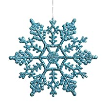 Club Pack of 24 Turquoise Blue Glitter Snowflake Christmas Ornaments 4""