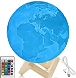 7.1 Inch Moon Lamp, 3D Printed Earth Lamp, Earth Light, Touch Control and Remote Control, 16 Colors with Wood Stand (7.1in)