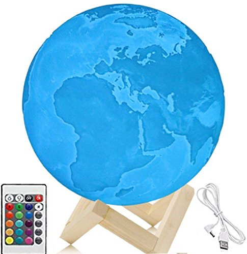 5.9 Inch 3d Night Light, 3D Printed Earth Lamp, Earth Light,Touch Control And Remote Control, 16 Colors With Wood Stand (5.9in)