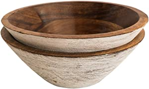 BHAVATU Wooden Bowls for Food or Salad Bowls Set, Small Bowl for Serving Pasta and Cereal, Set of 2 Wood Bowl