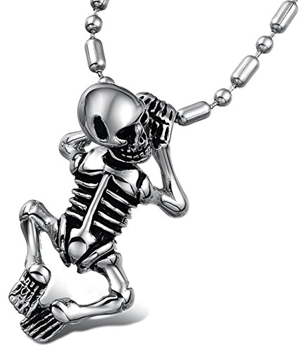 Price comparison product image JSDY Mens Stainless Steel Skull Body Pendant Necklace Punk Design Jewelry