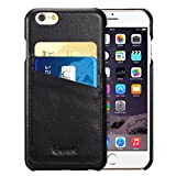 iPhone 6s / 6 Case, Benuo [Card Slot Vintage Series] [Genuine Leather] Slim Corrected Grain Leather Case [2 Card Slots], Leather Case Back Cover [Business Style] for iPhone 6 / 6s 4.7 inch (Black)